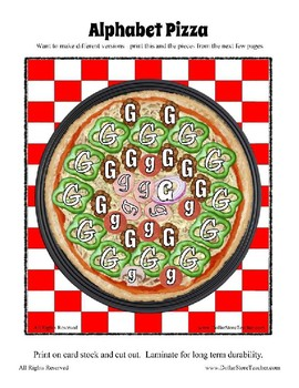 Pizza Based Preschool  ~ Focus Alphabet G ~ Patterns Clothes Pin Cards & More