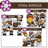 Pizza Bundle Digital Clipart (color and black&white)