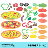 Pizza, Cooking - Watercolor Clipart - Transparent PNGs
