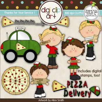 Pizza Delivery 1-  Digi Clip Art/Digital Stamps - CU Clip Art