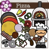 Pizza Digital Clipart (color and black&white)
