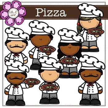 Pizza Digital Clipart (color and black&white)