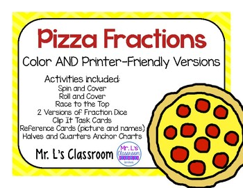 Pizza Fraction Center Activities - Halves and Fourths