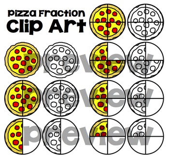 Pizza Fraction Clip Art ~ Color and Printer Friendly Versions
