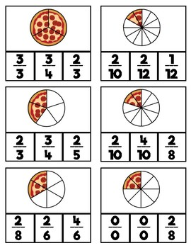 Pizza Fraction Clip Cards