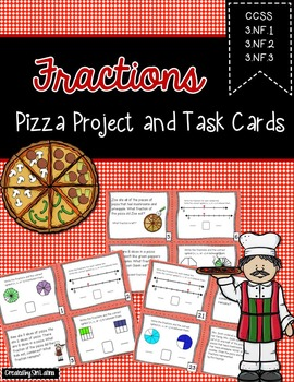 Pizza Fraction Project and Task Cards 3.NF.A.3