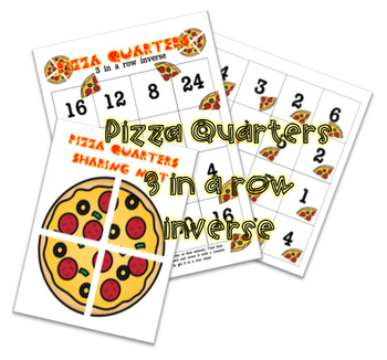 Pizza Fraction Quarters game (More Able)