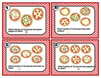 Fractions of a Whole and Fractions of a Set: Pizza Fraction Task Cards