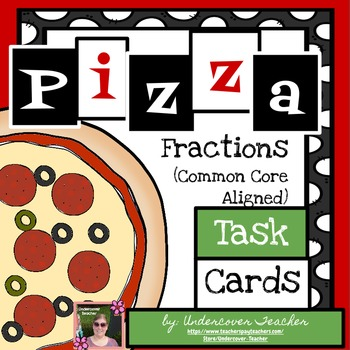 Pizza Fraction Task Cards - 80 Cards {Guided Math}