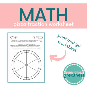 pizza fraction worksheet by third grade greatness  tpt