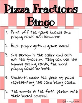 Pizza Fractions Bingo