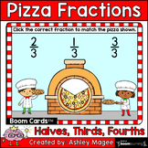 Pizza Fractions Boom Cards - Halves, Thirds, Fourths - Dig