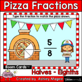 Pizza Fractions Boom Cards - TYPE Halves - Eighths Digital