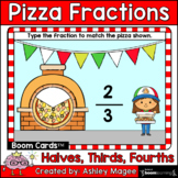 Pizza Fractions Boom Cards - TYPE Halves, Thirds, Fourths