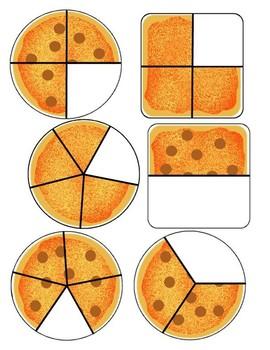 Pizza Fractions Clip Cards & File Folder Game