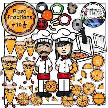 Pizza Clipart and Pizza Fractions Clipart Bundle