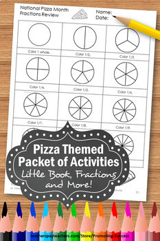 Pizza Fractions Worksheets, 3rd Grade Math Centers, Fraction Booklet