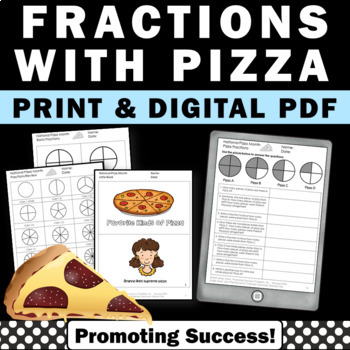 pizza fractions worksheets for 3rd 4th grade math