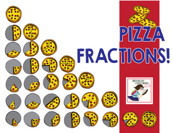 Pizza Fractions - Fun Food Fractions - Color and Line Art (58 PNG Files)