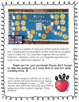 Pizza Fractions TASK CARDS, PRINTABLE, and CRAFTIVITY