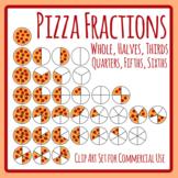 Pizza Fractions - Whole, Halves, Thirds, Quarters, Fifths & Sixths Maths Clipart