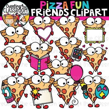 Pizza Fun Friends Clipart {Pizza Clipart}