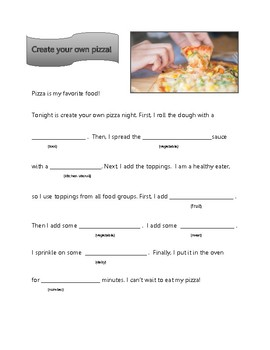 Pizza: Mad Libs for semantic categories