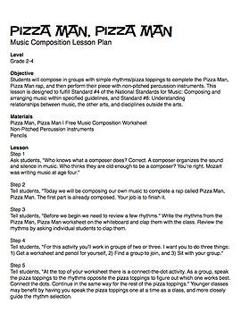 Pizza Man, Pizza Man   Music Composition Lesson Plan (Digital Print)