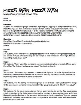 Pizza Man, Pizza Man | Music Composition Lesson Plan (Digital Print)