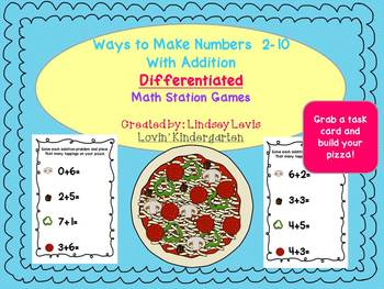 Pizza Math {A Differentiated Way to Use Addition to Make Numbers 2-10}