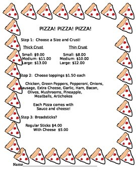 Pizza! Math Money Activity