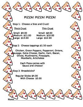 Pizza! Math Money Activity