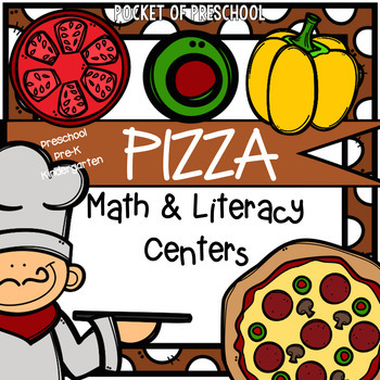 Pizza Math and Literacy Centers for Preschool, Pre-K, and