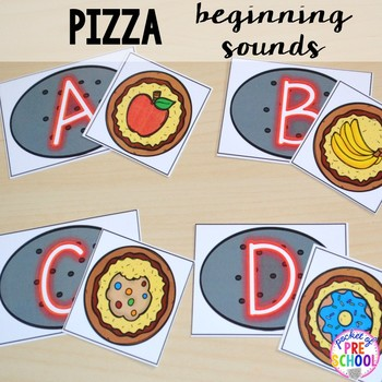 Pizza Math and Literacy Centers for Preschool, Pre-K, and Kindergarten