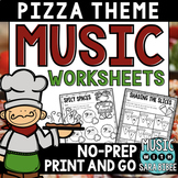 Pizza-Themed NO PREP Music Worksheets