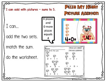 Pizza My Heart Picture Addition 1-5 Math Center