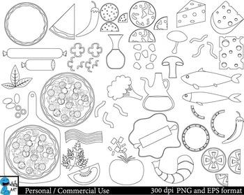 Pizza Outline Set Clipart Digital Clip Art Graphics 48 images cod214