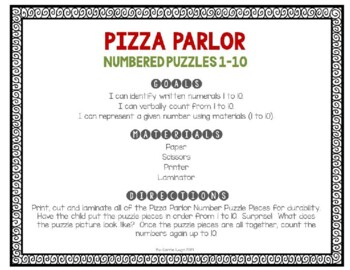 Pizza Parlor Numbered Puzzles 1-10