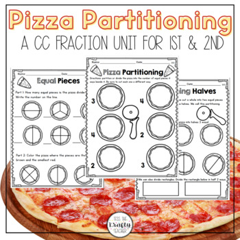 Pizza Partitioning Common Core Math Unit for 1st and 2nd Grade Fractions