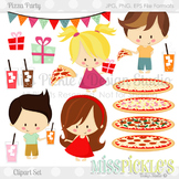 Pizza Party- Commercial Use Clipart Set