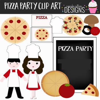 Pizza Party Digital Clip Art Elements