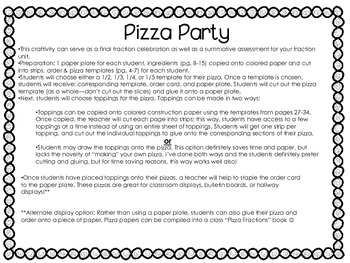 Pizza Party! Fraction Pizza Shop Craftivity