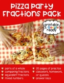 Pizza Party Fractions Pack - Printable & Distance Learning