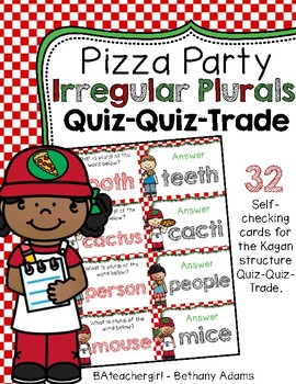 Pizza Party Irregular Plurals ~ Quiz-Quiz-Trade Cards ~