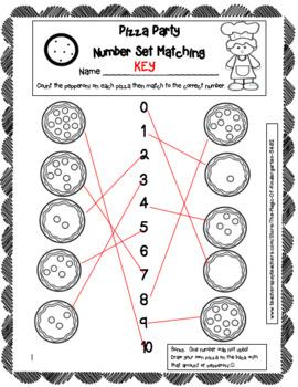 Pizza Party Number Worksheet Set (0-10)