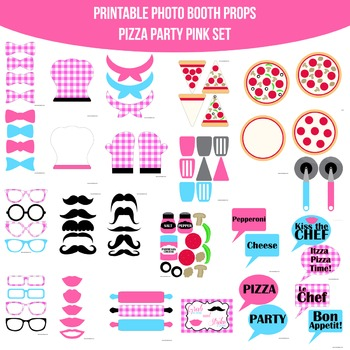 Pizza Party Pink Printable Photo Booth Set