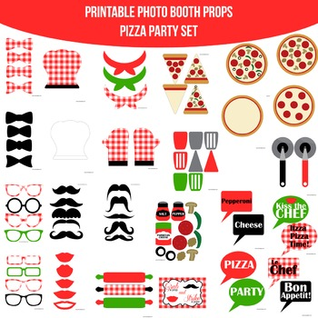 Pizza Party Printable Photo Booth Prop Set