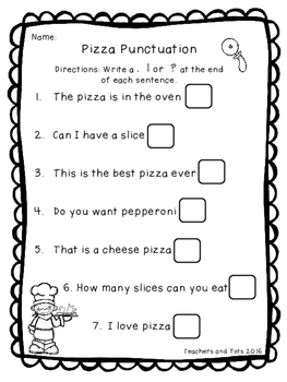 Pizza Party Punctuation Freebie