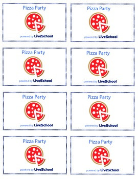 Pizza Party Reward Cards