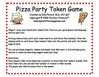 Pizza Party Token Boards